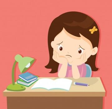 caricatura de niña con cara de aburrimiento frente a un libro